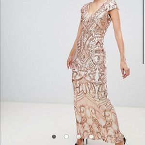 Bariano rose gold sequined gown